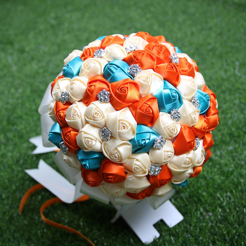 Newest orange + blue + cream Artificial Flowers Bouquets Diamond Crystal Marriage Wedding Bouquet Rose Bride BouquetNewest orange + blue + cream Artificial Flowers Bouquets Diamond Crystal Marriage Wedding Bouquet Rose Bride Bouquet