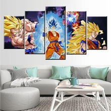 Home Decor Modular Picture Canvas Painting 5 Piece Dragon Ball Super Son Goku Animation Poster Wall For Living Room Modern