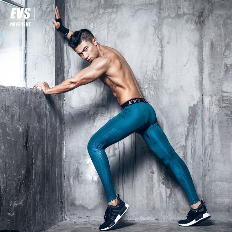 2017 EVS Men Fitness Leggings Tights Elastic Compression Tights Quick Dry Breathable Bodybuilding Pants New rib knit tights