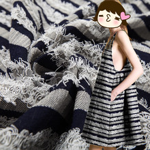 7853b12635 50x145 cm alta calidad suave tejido Jacquard borla raya para las mujeres  ropas vestido moda telas