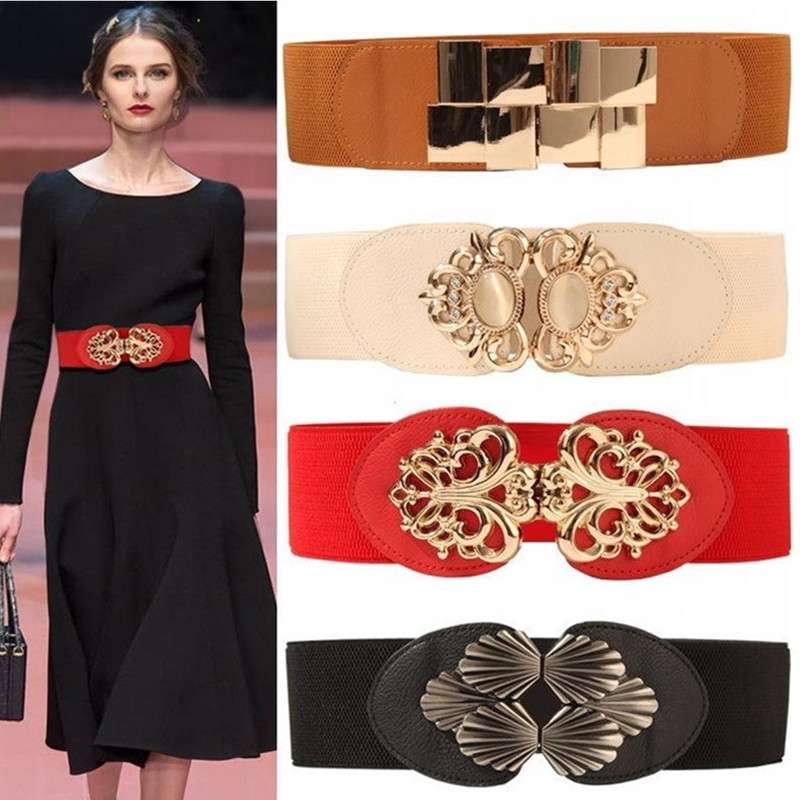 High Quality Waistbands For Woman Female Wide Belt Gold Square Buckle Cummerbunds For Dress Decorative Belt Women's Slim Elastic