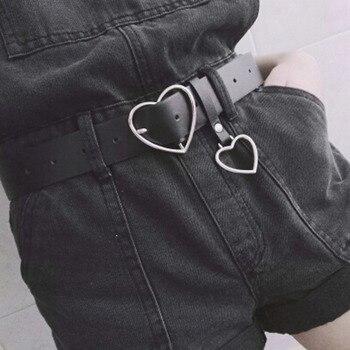 e47ce881dc Cuero de la PU de moda cinturón de corazón de Metal hebilla de cinturón para  las mujeres vestido de fiesta decoración cintura señoras calle 105 cm