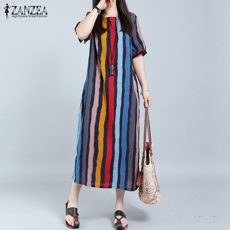 Купить на aliexpress ZANZEA женское летнее платье 2019 Полосатое плюс размер длинное Макси свободное платье из хлопка с коротким рукавом в стиле ретро модное сексуал...
