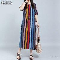 ZANZEA Women 2017 Summer Dress Casual Loose Short Sleeve Striped Retro Long Maxi Dresses Fashion Plus