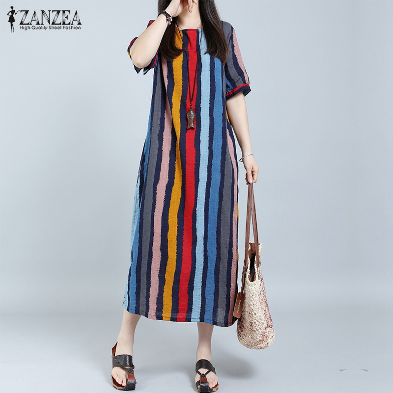 ZANZEA Women Summer Dress 2018 Striped Plus Size Long Maxi Dresses Casual Loose Cotton Short Sleeve Retro Fashion Sexy Vestidos
