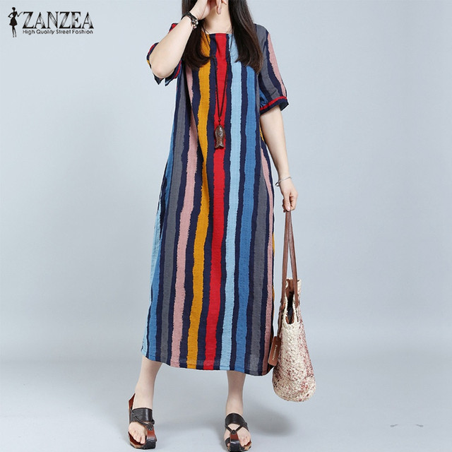 Aliexpress.com : Buy ZANZEA Women Summer Dress 2018 Striped Plus ...