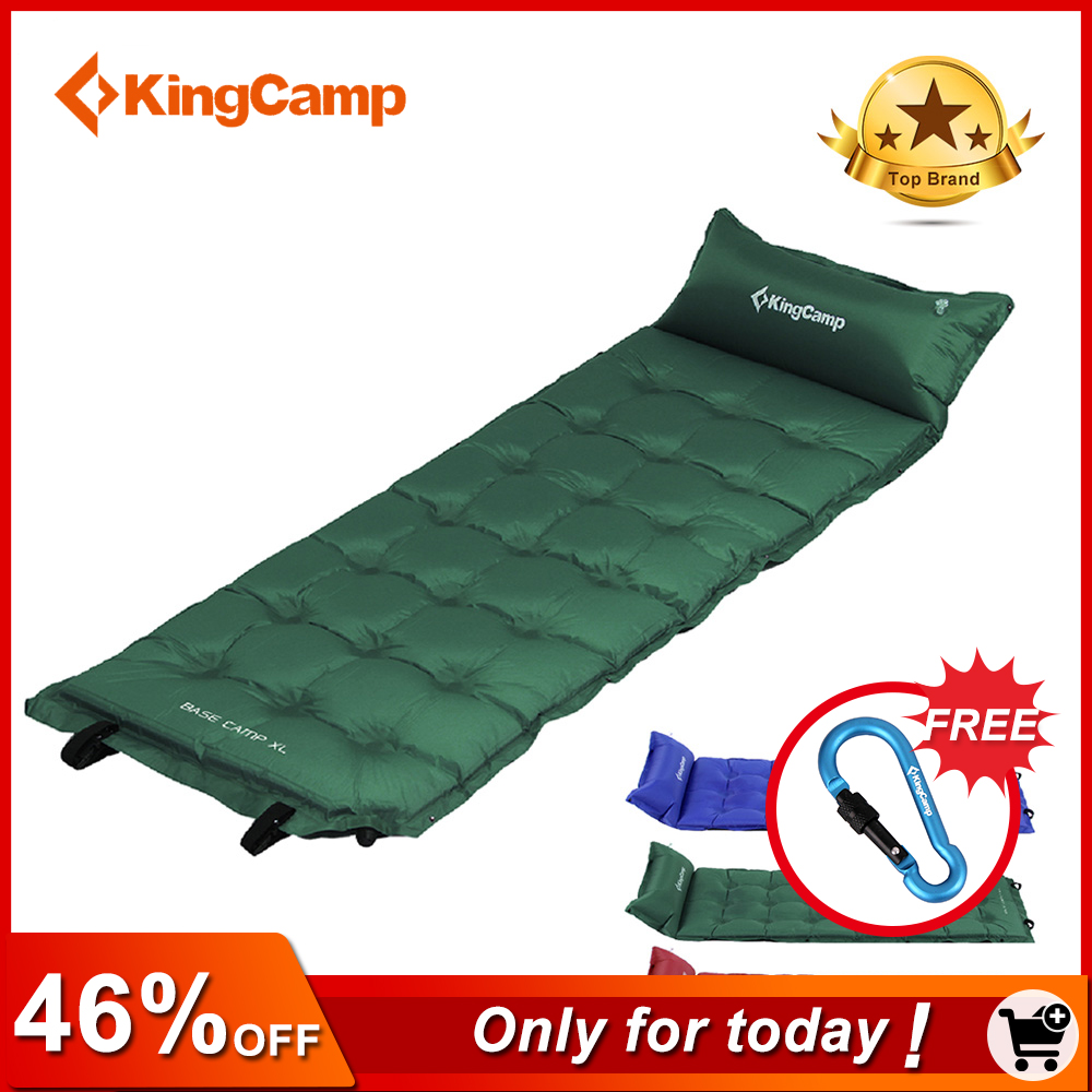 KingCamp Camping Mat Self-Inflating 200cm Camping Pad Sleeping Mattress with Pillow Inflatable Bed for Outdoor Camping Hiking kingcamp comfort mattress self inflating damp proof 2 person camping mat with pillows inflatable mattress
