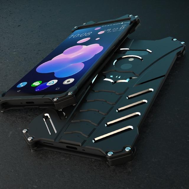 low priced 7a997 b67cb US $25.0 |Aliexpress.com : Buy Aluminum Metal Phone Back Cover For HTC U11  U12 Plus Case Armor Batman Shockproof Protective Shell Frame Black Cases ...