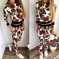 Fashion 2017 Womens Rose Floral Printed Tracksuits Autumn Long Sleeve Pullover Hoodies JoggerSuits Causal Sweatshirt