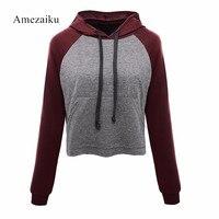 Sweatshirts 2017 Spring Autumn New Women Patchwork Long Sleeve Short Pullovers Hoodie