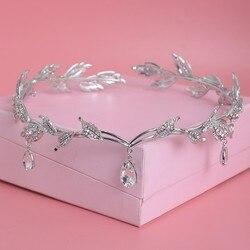 Luxury Crystal Crown Bridal Hair Accessories Wedding Rhinestone Waterdrop Leaf Tiara Crown Headband Frontlet Brides Hair Jewelry
