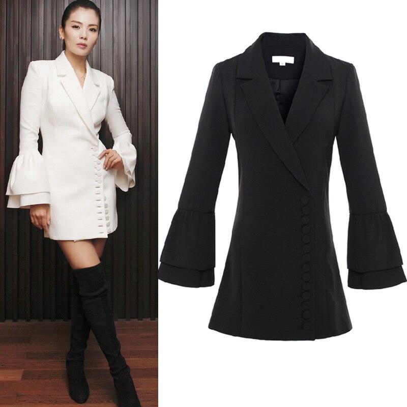 Haute qualité 2018 automne et hiver nouvelle mode solide couleur OL professionnel costume robe fleur placket manches slim robe courte