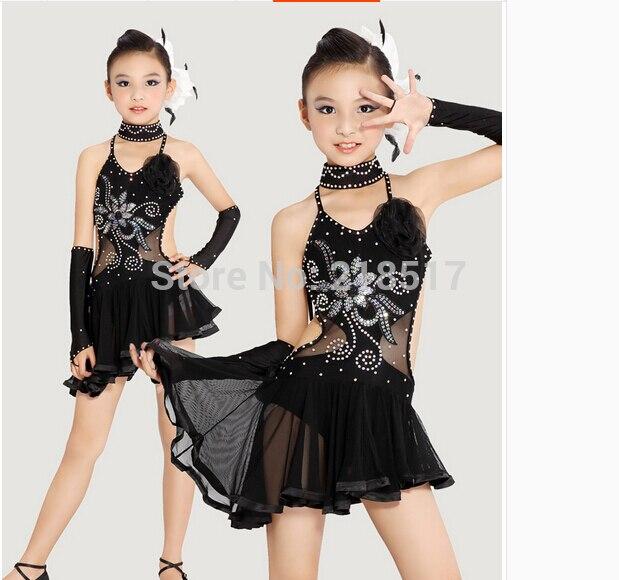 ffba412af S XXL Black and yellow kids dancewear Latin Dance Dress girl ...