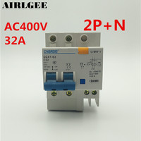 AC 400V 32Amp 2P 1N Overload Protection ELCB Earth Leakage Circuit Breaker