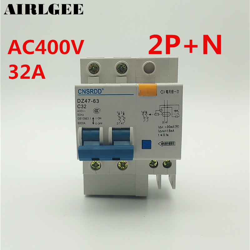 цена на AC 400V 32Amp 2P+1N Overload Protection ELCB Earth Leakage Circuit Breaker