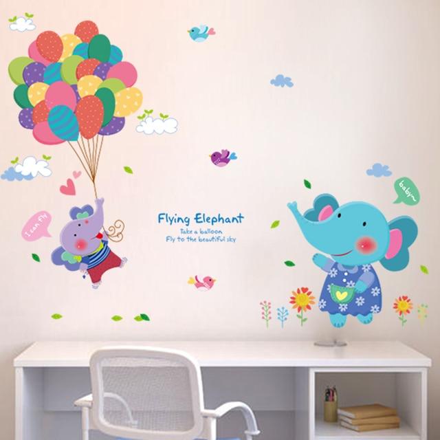 SHIJUEHEZI] Cartoon Elefanti Uccelli Palloncini Wall Stickers ...