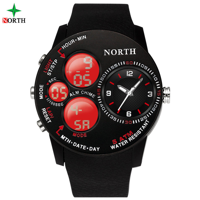 NORTH Men Sport Watches LED Digital Analog Waterproof Clock Casual Silicone Strap Electronic Stopwatch Fashion Male