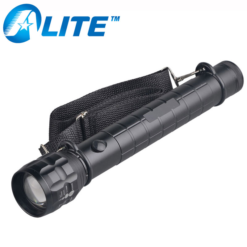 Uso de seguridad 3 W potente linterna antorcha tamaño D de la batería Luz de Flash con 18650 batería titular holster