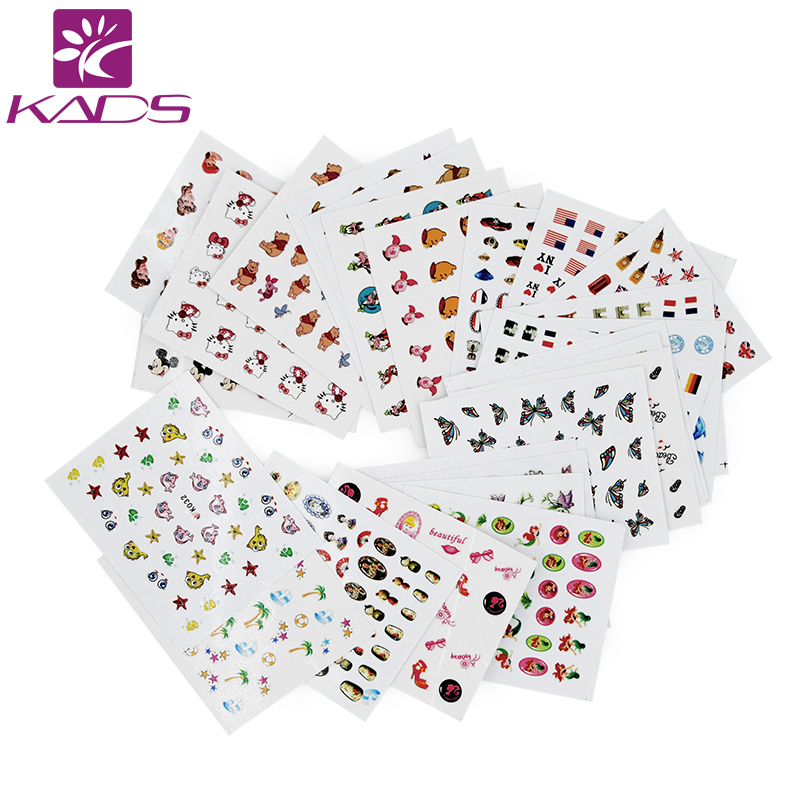 KADS Hot Sale!! 33pcs/set Lovely Cat&Fish&Butterfly Image Colorful Pattern 3D Nail Self Adhesive Sticker Nail Art Decoration image art