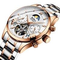 BIDEN Top De Luxo Da Marca Homens Relógios Mecânicos Automáticos Turbilhão Esportes Masculino Relógio Business Casual Aço Completa relógio de Pulso Retro