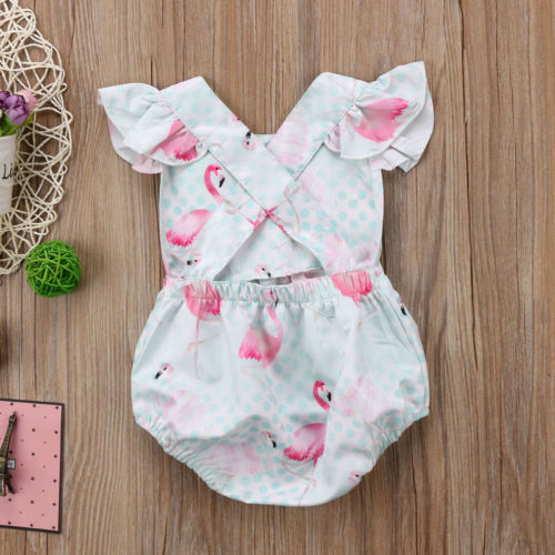 Baby Girl Animal Pink Flamingo Romper