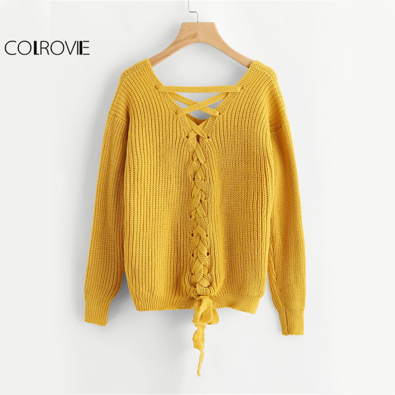 COLROVIE Boho Lace Up Back Sweater Women Mustard Long Sleeve ...