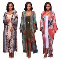 NEW Plus Size Open Cardigan Long Blouse 3XL Autumn Floral Print Full Sleeve Outwear Belted Trench