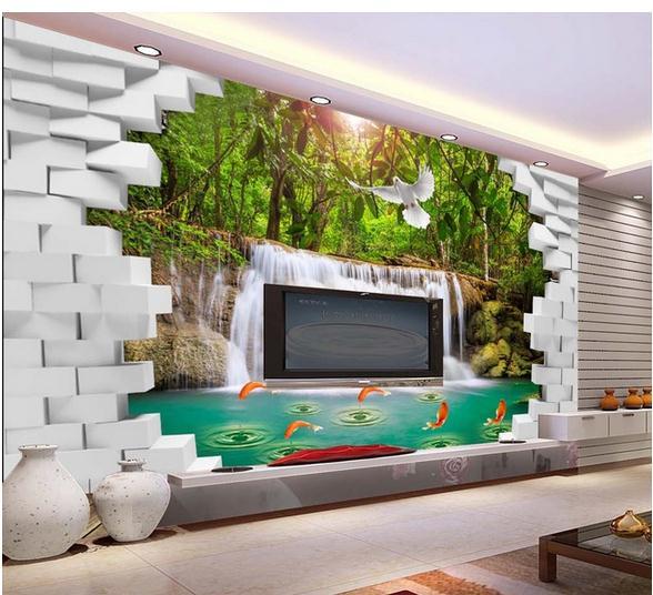 3d wallpaper murals custom Is 3 d brick wall generative waterfall water TV setting wall wallpaper