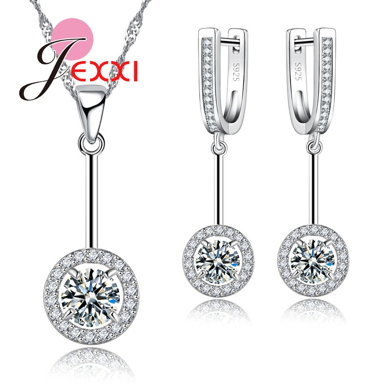 Round CZ Jewelry Sets For Women 925 Sterling Silver Earrings/Ring/Necklace/Pendant Set Bridal Accessories