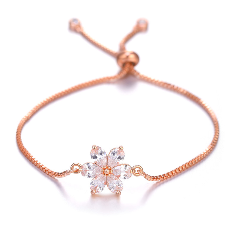 JUWANG Brand Summer Clear Cubic Zirconia Flower Bracelet for Women Fashion Rose Gold Color AAA CZ Lobster Clasp Chain Jewelry in Charm Bracelets from Jewelry Accessories