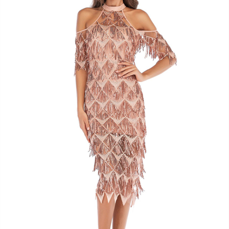 a6eadf74cca 2018 European and American fashion Amazon explosion models women s sexy  slim sleeves sequined tassel dress -in Dresses from Women s Clothing on ...