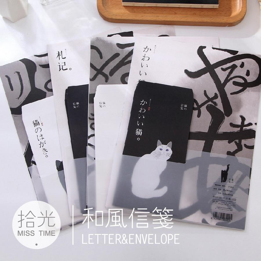 9 Teile/satz 3 Umschläge + 6 Writting Papier Nette Katze Papier Umschlag Für Geschenk Koreanische Schreibwaren Duftendes (In) Aroma