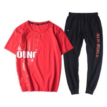 Summer men's large size cotton short sleeve t shirt casual o-neck two-piece sets t shirts  suits L-8xl 9XL hip hop 6 colors