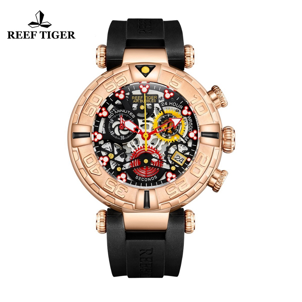 Reef Tiger/RT Top Brand Mens Sport Watches Chronograph Rose Gold Skeleton Watches Waterproof reloj hombre masculino RGA3059 S