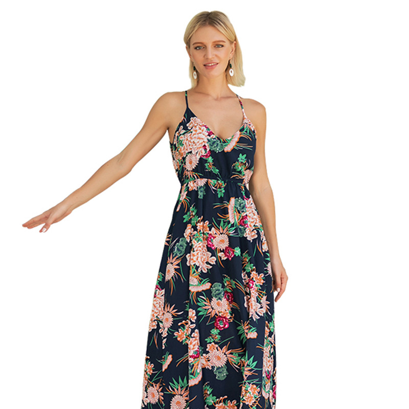 UTMEON New Summer Maxi Dress Women Floral Print Dress V-Neck Sleeveless Slim Bohemian Printing Strap Dress Beach Long Dress