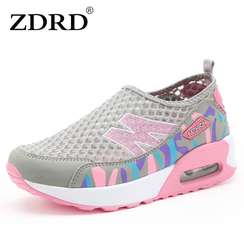 ZDRD Women brand fashion Light Mesh Flats Shoes Super Cool Casual Shoe creepers Breathable chaussure femme Flats Platform Shoes  summer sandals women leather breathable mesh outdoor super light flats shoes all match casual shoes aa40140
