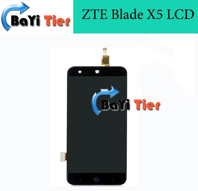 100% de alta calidad de zte blade x5 lcd reemplazo de la pantalla lcd + pantalla