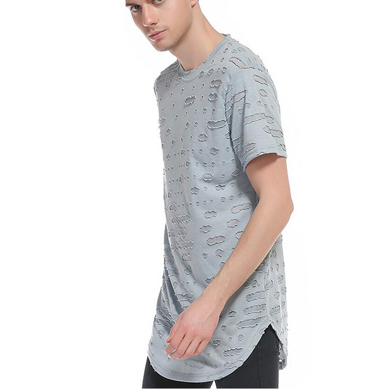 Europe and the United States new men's Fengpo hole tee hip new summer style Cotton men Clothing Male Slim Fit t shirt Man T-shir