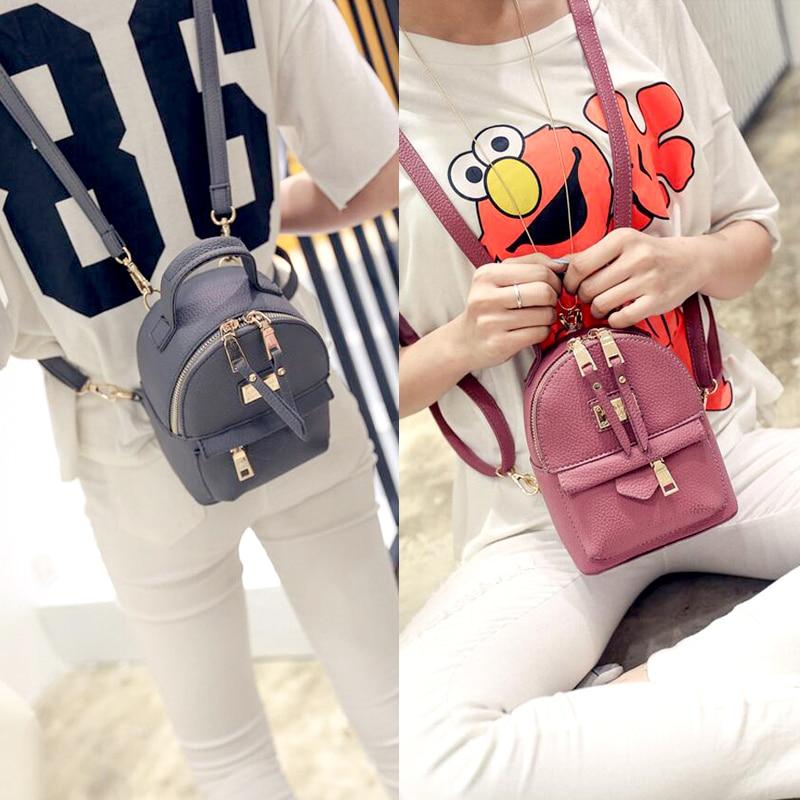 Image 5 - Fashion Wobag Backpacks Woman 2019 Mini PU Leather Backpack Female Solid Color Bookbag Gift Backbag Backpack Schoolbag For GirlsBackpacks   -