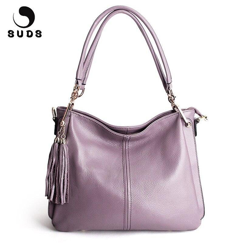 SUDS Brand 2019 Women Genuine Leather Casual Shoulder Bag Designer High Quality Messenger Bags Ladies Tassel
