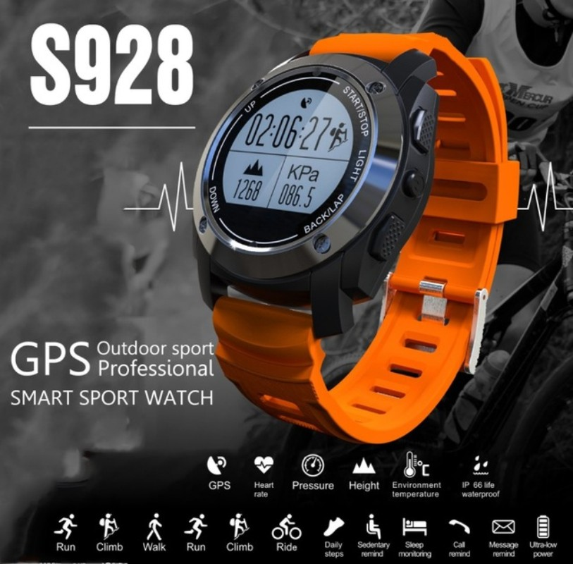 S928 Heart Rate Monitor Smart Watch with GPS Tracker Air Pressure Monitor Phone call reminder Sport Watch Phone For Android IOS