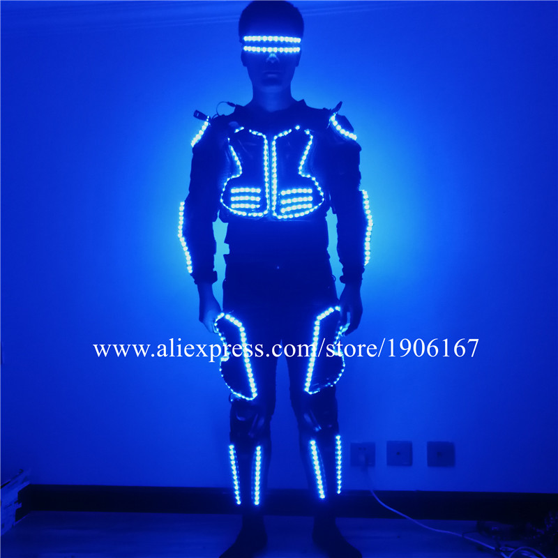 RGB LED Luminous Dance Ballroom Costumes Stage Performance Led Glowing Flashing Glasses Robot Men Suits Led Event Party SuppliesRGB LED Luminous Dance Ballroom Costumes Stage Performance Led Glowing Flashing Glasses Robot Men Suits Led Event Party Supplies