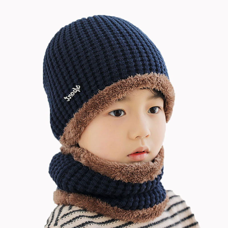 Children Winter Hat Scarf Set For Kids Girl Boys Ring Scarves And Knitted Ribbed Beanies Cap Cable Skullies Neck Warm 2 Pcs Suit
