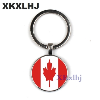 XKXLHJ Fashion Bag/Car Accessories Keychain Canada/Czech Republic Flag Handmade Key Chain Jewelry Glass Dome Pendant Key Ring image