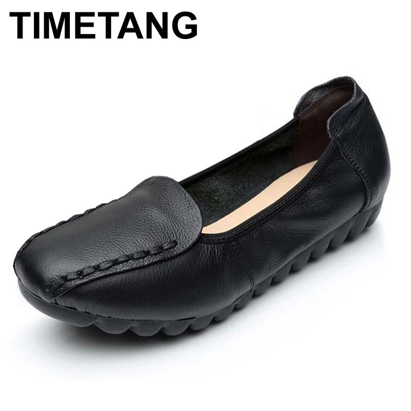 TIMETANG Spring/Autumn Woman Handmade shoes Genuine Leather Flats Women Casual Shoes Breathable Slip-on Soft Bottom Loafers timetang spring womens ballet flats loafers soft leather flat women s shoes slip on genuine leather ballerines femme chaussures