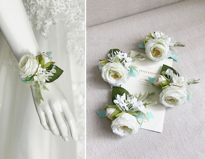 wedding wrist corsage boutonniere marriage  (3)