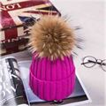 New Fashion Winter Warm Knitted Woolen Hats With Velvet Fur For Women Girl Solid Natural Raccoon Beanies Caps