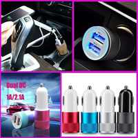 1pcs Alloy 2 USB Ports Universal Intelligent Charging Dual USB Car Charger for iPhone for Android Mobile Phone