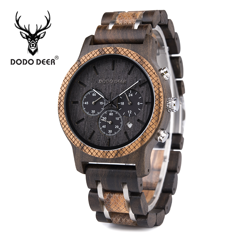 DODO cerf mode luxe en bois naturel montre hommes personnaliser calendrier chronographe zèbre ébène fait à la main accepter livraison directe B19