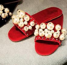 2017 Hot Sale Summer Flip Flops Women Beach Sandals Shinny Bling Pearl Flats Slippers Elegant Woman Shoes Free Shipping